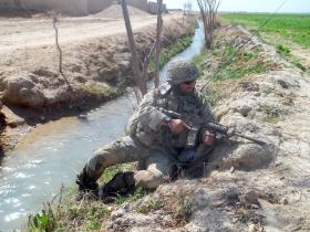 Sgt Blakey  on patrol during Herrick XIII, Afghanistan, c2011.