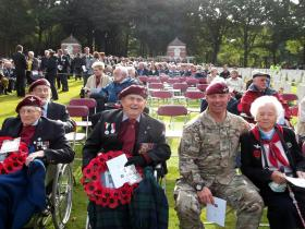 Sgt Tom Blakey and veterans of 21st Independent Parachute Company at Oosterbeek War Cemetery, 23 September 2012.