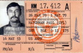 Cpl Hatchman's Identity Card, Fort Campbell, USA, 1979.