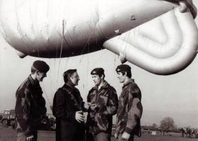 Pte Hatfield being presented his wings by the Mayor of Stockton, 1976.