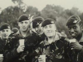 Members of 2 Coy 10 PARA, relaxing before dropping into Germany, late 1980s.