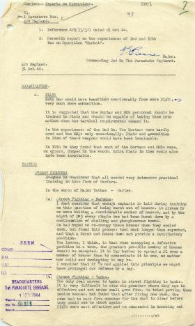 Report on experience of 2nd and 10th Battalion in Operation Market Garden 1944.