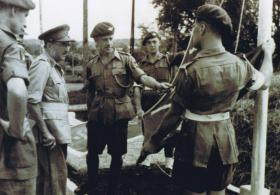 Field Marshal Lord Alanbrooke with Lt Col Darling during an inspection of the 12th Para Bn, December 1945.