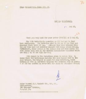 Letter regarding 11th Battalion Battle Honours on Cos, 11 July 1956.