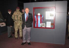 Johnnie Peters son Tony, with the Vitesse Arnhem shirt his father donated, Airborne Assault, May 2015.