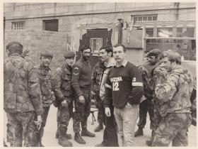Patrol of 2 Para C (Bruneval) Coy at Bessbrook Mill, 1980