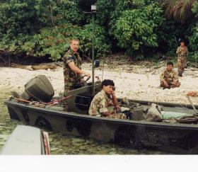 Steve 'Yank' Thayer on Island Patrol, Snake Caye, Belize, 1987