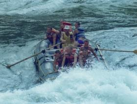 Members of 2 PARA, white-water rafting, Zambezi River, Victoria Falls, Zimbabwe, 7 December 1991.