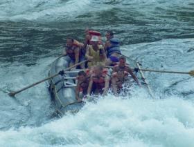 Members of 2 PARA, white-water rafting, Zambezi River, Victoria Falls, Zimbabwe, 7 December 1991.