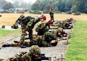 604 Platoon on the ranges, Infantry Training Centre, Catterick, 1995.