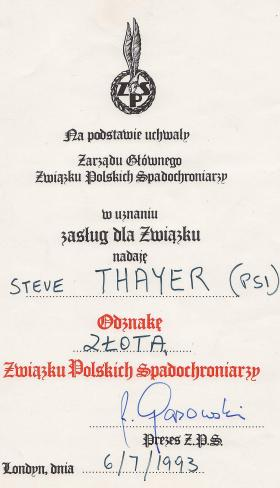 Steve 'Yank' Thayer's Polish Paratrooper Association Award, 1993