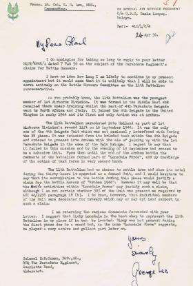 Letter regarding Battle Honours of 11th Battalion, 24 April 1956.