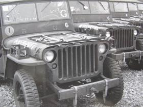 Detail view of Airborne Jeeps showing modifications to bumpers, stowage and lights, c.1944