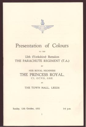 Booklet for the presentation of the Colours to 12 PARA (TA), Leeds 1952.