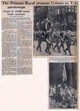Yorkshire Post newspaper article 12 PARA TA Colours presentation,1952.
