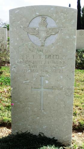 Grave of Capt Frederick T T Field, Ramleh War Cemetery, Israel, 2015.