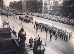 12 PARA (TA) at the presentation of the Colours ceremony, Leeds 1952.