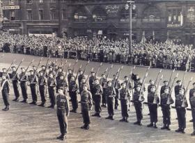 Members of 12 PARA (TA) at the presentation of the Colours ceremony, Leeds 1952.