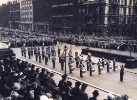 12 PARA (TA) Band at the presentation of the Colours ceremony, Leeds 1952.