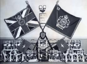 The Colours, Drums and Bugles of the 12th (Yorkshire) Battalion, The Parachute Regiment (TA), 1952.