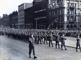 12 PARA (TA) march off from the presentation of the Colours ceremony, Leeds 1952.