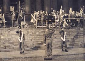 The presentation of the Colours ceremony, 12 PARA (TA), Leeds 1952.