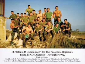 12 Platoon, D Coy, 2 PARA, Trani, Italy, October-November 1992.