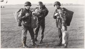 Soldiers 'Yank', 'Stubbo' and 'Johnny Rob' during Balloon jump training, Germany, 1978
