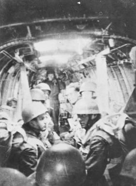 Members of 6th Para Bn waiting to drop from a Dakota for Ex Longstop 1947