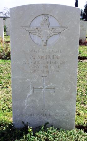 Grave of Pte Alexander McBride, Ramleh War Cemetery, Israel, 2015.