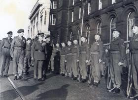 Field Marshal Montgomery inspects men of 13 PARA (TA), Colours presentation ceremony, Liverpool 1953.