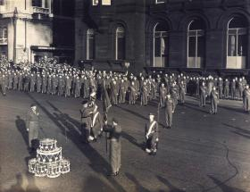 Field Marshal Montgomery presents the Queen's Colour to 13 PARA (TA), Liverpool 1953.
