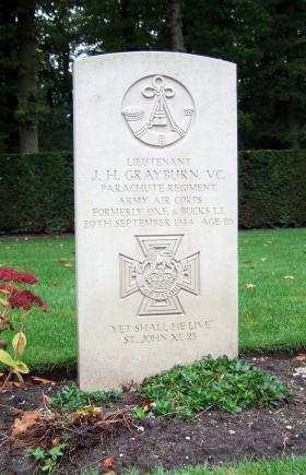 Headstone of Lt J H Grayburn, Oosterbeek War Cemetery, October 2015.