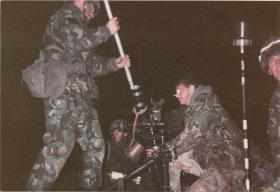 A Coy, 4 PARA Mortars on a night shoot, 1980s