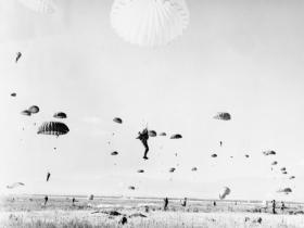 Members of 131 Para Engineer Regiment (TA) parachute into Cyprus, 1963.
