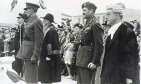Receiving the Colours ceremony, 14th Para Bn, Southampton 1948.