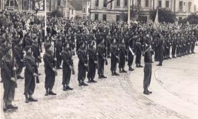 14th Para Bn receiving the Colour, Southampton 1948.