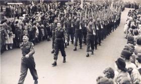 14th Para Bn Colour Party march through Southampton, 1948.