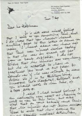 Letter to Pte Hatchman's father from Major Roberts informing that he had been injured, 1972.