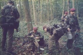Members from 144 PFA enjoy breakfast time in Danish woodlands, September 1984