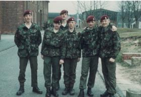 Soldiers from 144 PFA rest at Combat Medical Technician Course, Longmoor, April 1984