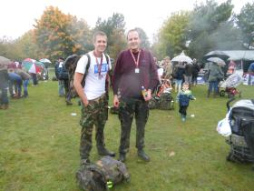 Mark Ross with his son Tom at Paras 10 Colchester, October 2012.
