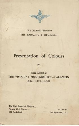 Booklet for the presentation of Colours to 15 PARA, 7 September 1952.