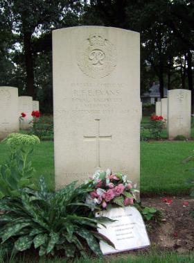 Headstone of Cpl R F E Evans, Oosterbeek War Cemetery, July 2014.