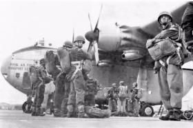 Members of 15 PARA waiting to emplane a Beverley c 1965