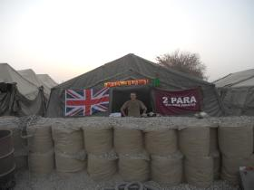 Tented billets with Hesco blast walls, Patrol Base 1, Afghanistan, Christmas 2010