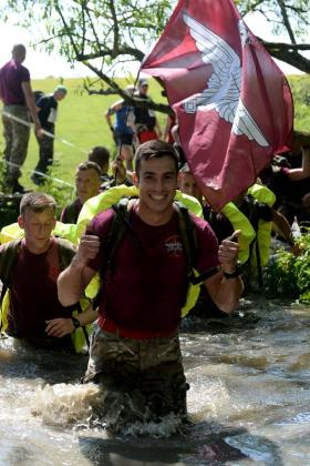 A thumbs up whilst running PARAS 10, Catterick 2012.