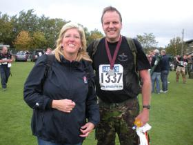 Paras 10 11/9/11. Judy, my wife, waiting at finish.Did lot of training but going for 1hr 50 next year.