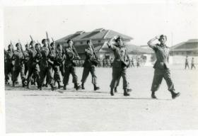 15th (Kings) Parachute Battalion march past the C-in-C, Gen Sir Claude Auchinlek, Bilaspur, India, April 1946