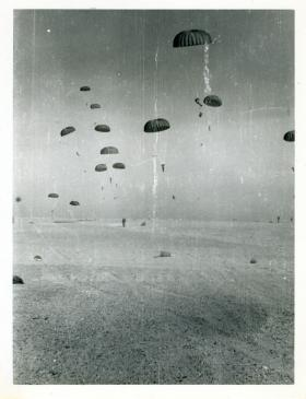 A parachute drop by 15th (Kings) Parachute Battalion, India, 1946